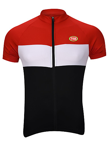 cheap Cycling Clothing-TVSSS Men's Short Sleeve Cycling Jersey - Black / Yellow White / Black / Red White / Black / Blue Polka Dot Bike Top Breathable Quick Dry Back Pocket Sports Coolmax® Terylene Lycra Clothing Apparel