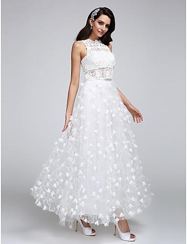 2b0ebaaa875c Γραμμή Α Με Κόσμημα Μέχρι τον αστράγαλο Τούλι πάνω από δαντέλα Φορέματα  γάμου φτιαγμένα στο μέτρο