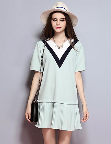 sybel kvinders gå ud street chic kappe kjole, solid v hals knælange kort ærme sommer grøn bomuld