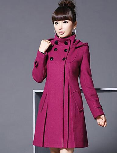 Damen Solide Retro Alltagskleidung Einkauf Arbeitskleidung Verabredung Freizeitskleidung Lang Mantel, Mit Kapuze Herbst Polyester Andere