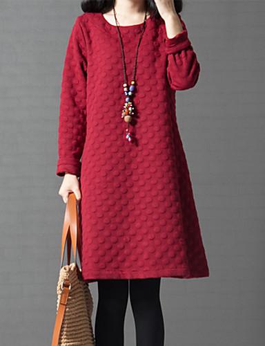 Feminino Solto Vestido,Casual Fofo Moda de Rua Sólido Decote Redondo Acima do Joelho Manga Longa Algodão Outono Inverno Cintura Média