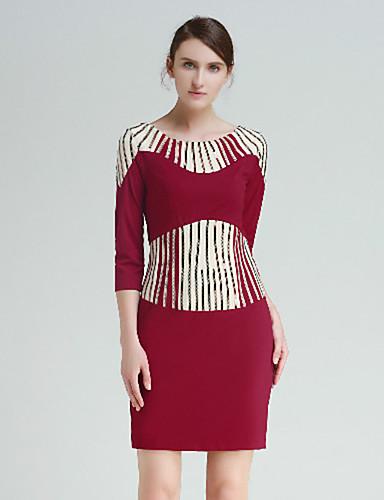 Shift Dress Fritid/hverdag Vintage Kvinner,Fargeblokk Rund hals Ovenfor knéet Halvlange ermer Rød / Sort Polyester Høst