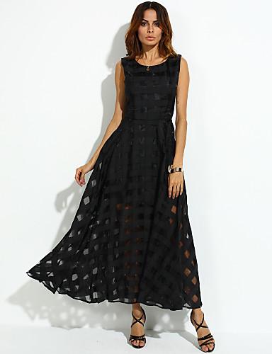 voordelige Sexy jurken-Dames Feestdagen Vintage Wijd uitlopend Jurk - Effen Maxi