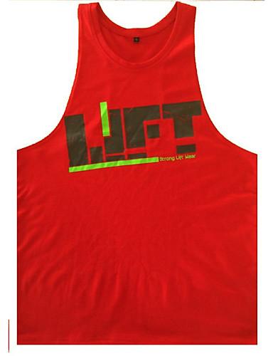 voordelige Heren T-shirts & tanktops-Actief Print Singlet Sport Letter Ronde hals Geel / Mouwloos / Zomer