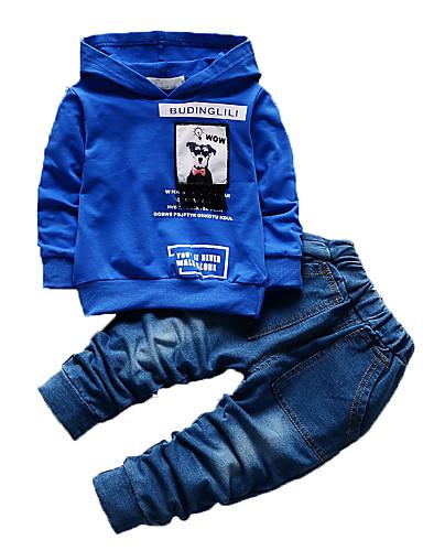 Jungen Kleidungs Set-Lässig/Alltäglich Druck Baumwolle Herbst Blau / Grün / Orange / Rosa