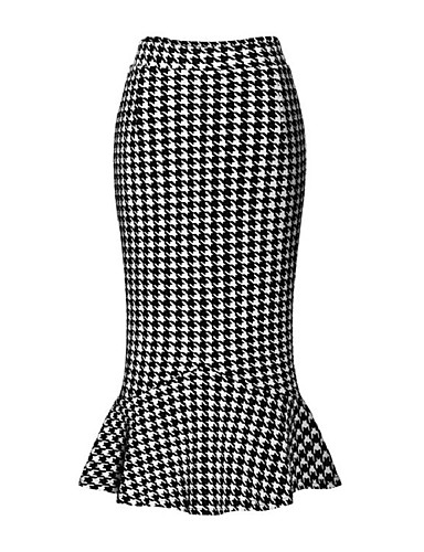 cheap Women's Skirts-Women's Daily Street chic Bodycon Skirts - Houndstooth Ruffle Black S M L / Slim