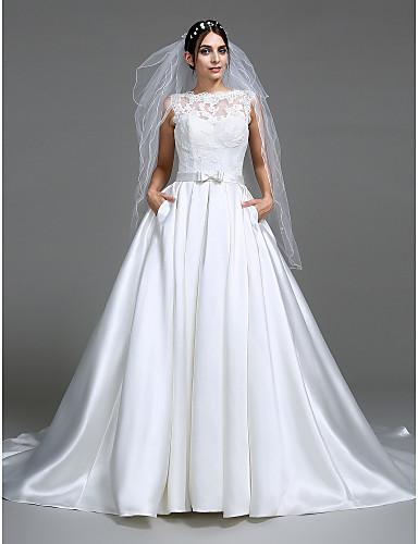 2444e64a1af5 Χαμηλού Κόστους Νυφικά-Βραδινή τουαλέτα Bateau Neck Μακριά ουρά Σατέν  Φορέματα γάμου φτιαγμένα στο μέτρο