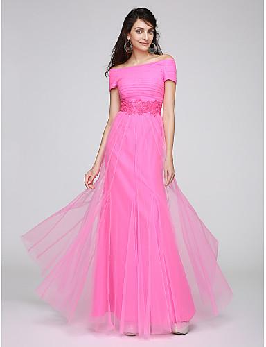Eng anliegend Bateau Hals Boden-Länge Tüll Ball Formeller Abend Kleid mit Perlenstickerei Applikationen durch TS Couture®