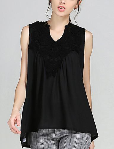 Damen Solide Übergrössen Bluse, V-Ausschnitt Kunstseide Polyester