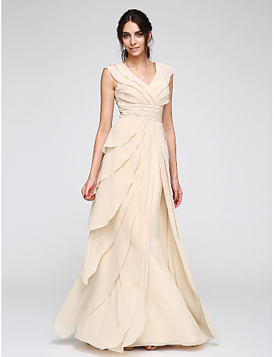 cheap Evening Dresses-A-Line V Neck Floor Length Chiffon Prom / Formal Evening Dress with Tier / Ruched by TS Couture®