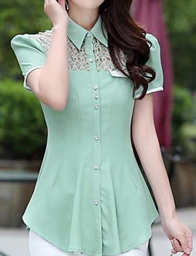 Women's Street chic Plus Size Shirt - Solid Colored Lace Shirt Collar