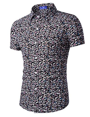 Masculino Camisa Casual Estampado Manga Curta Algodão Preto / Vermelho