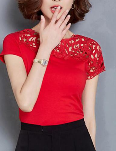 여성 솔리드 라운드 넥 짧은 소매 블라우스,심플 스트리트 쉬크 캐쥬얼/데일리 레이온 폴리에스테르 여름 얇음