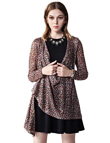 Damer Simpel I-byen-tøj Normal Cardigan Ensfarvet,Dyb V Langærmet Akryl Polyester Forår Efterår Medium Mikroelastisk