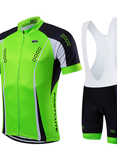 Fastcute Men s Short Sleeve Cycling Jersey with Bib Shorts - Black Green  Solid Color Bike Clothing Suit Breathable Quick Dry Sports Coolmax® Lycra  Solid ... e5268a61f