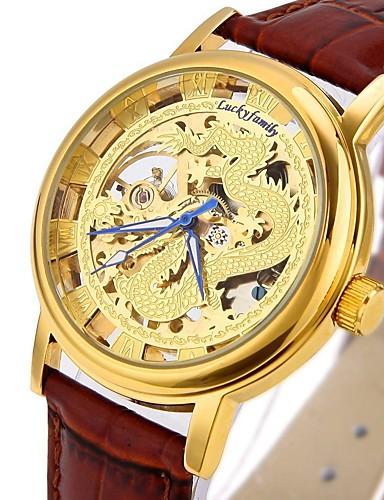 CAGARNY Homens Relógio Esqueleto Relógio de Moda Relógio de Pulso relógio mecânico Automático - da corda automáticamente Gravação Oca