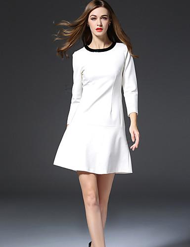 Dame Simpel I-byen-tøj Skede Kjole Ensfarvet,Rund hals Mini 3/4 ærmelængde Hvid Sort Rayon Polyester Nylon Efterår Alm. taljede Uelastisk