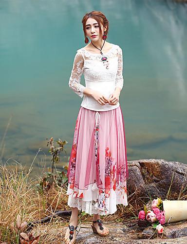 Damer Vintage Nederdele I-byen-tøj Polyester,Blomstret Sommer