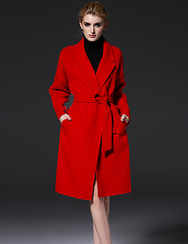 De frmz vrouwen formele eenvoudige coatsolid notch revers met lange mouwen winter rode wol / polyester medium