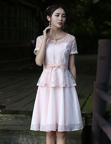 Dame Vintage I-byen-tøj Skede Kjole Broderi,Rund hals Knælang Kortærmet Rosa Polyester Sommer Alm. taljede Uelastisk Medium