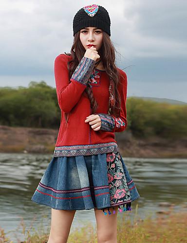 Feminino Camiseta Para Noite Temática Asiática Primavera Outono,Bordado Acrílico Elastano Decote Redondo Manga Longa Média