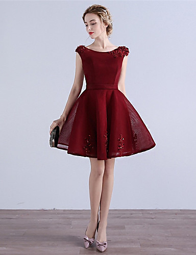 A-Linie Leger & Aufgebauscht U-Ausschnitt Kurz / Mini Tüll Cocktailparty Kleid mit Applikationen durch MYF