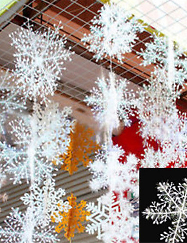 billige Festival-30pcs christmas snow flakes hvite snøfnugg ornamenter ferie juletre decortion festival fest