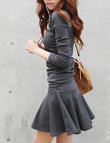 abordables Robes Femme-Femme Chic de Rue Mini Patineuse Robe Couleur Pleine Printemps Automne Hiver Noir gris foncé M L XL Coton Manches Longues