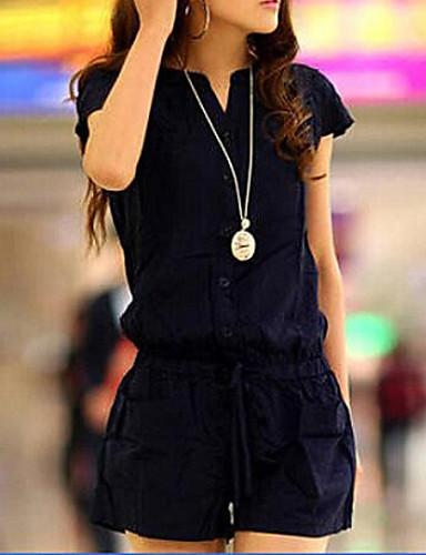 vrouwen plus size Navy blauwe korte jumpsuits, casual kleine v-hals met korte mouwen