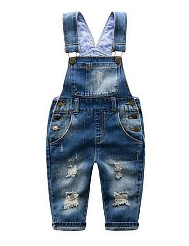 Baby Gutt Ensfarget Ermeløs Bomull Bukser / Jeans