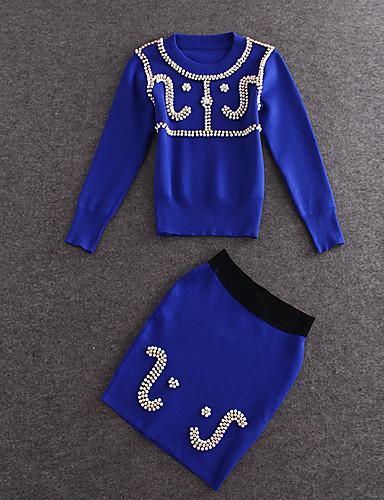 1/2 ærmelængde Rund hals Medium Dame Blå Ensfarvet Sommer Vintage I-byen-tøj T-shirt Skjørte Suits,Bomuld / Polyester