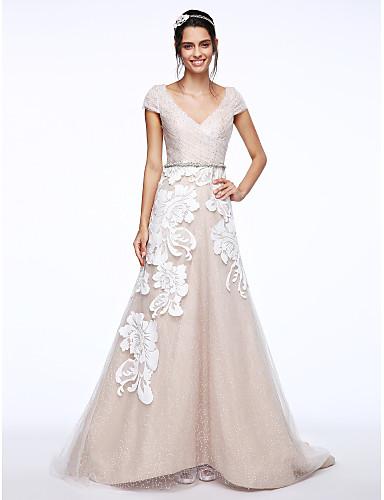 3a08d3792 Linha A Decote V Cauda Escova Tule   Renda Floral Vestidos de casamento  feitos à medida