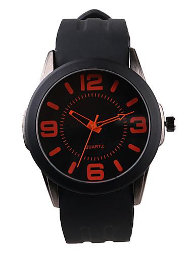 Homens Relógio de Moda Quartzo / Relógio Casual Silicone Banda Casual Preta
