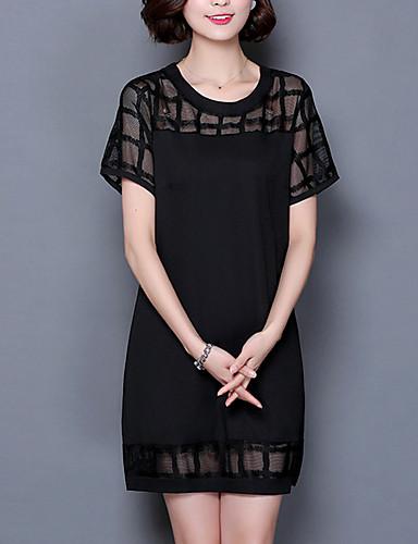 Damen Alltag Retro Street Schick Übergrössen T Shirt Übers Knie Kleid, Ausgehöhlt Solide Rundhalsausschnitt Kurzarm