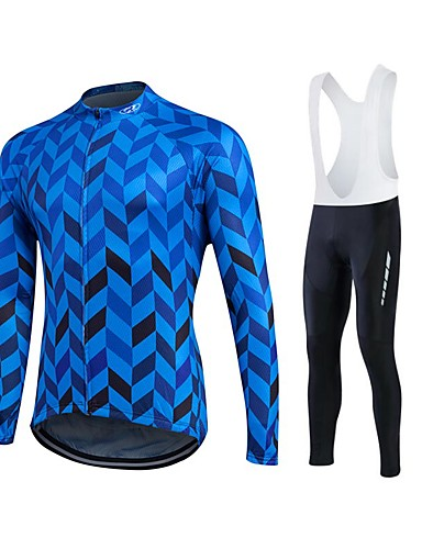 cheap Cycling Clothing-Fastcute Men's Long Sleeve Cycling Jersey Bike Clothing Suit Thermal / Warm Windproof Fleece Lining Breathable 3D Pad Winter Sports Polyester Velvet Fleece Sports Clothing Apparel / Quick Dry