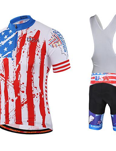 cheap Cycling Clothing-Miloto Men's Short Sleeve Cycling Jersey with Bib Shorts - Black Bike Bib Shorts Jersey Bib Tights Breathable Quick Dry Sweat-wicking Sports Polyester Lycra USA Mountain Bike MTB Road Bike Cycling