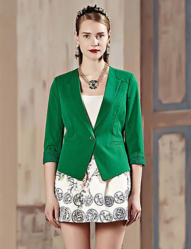 3/4 ærmelængde Peak Lapel Medium Dame Hvid / Grøn Ensfarvet Forår / Efterår Simpel Arbejde Blazer,Rayon / Polyester / Spandex