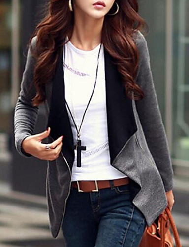 Women's Sophisticated Street chic Jacket - Solid Colored V Neck