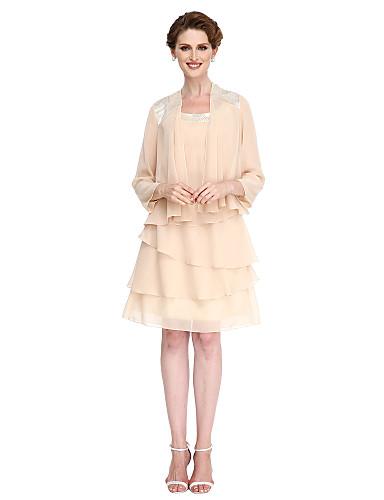 Trapèze Encolure dégagée Mi-long Mousseline de soie Robe de Mère de Mariée  avec Gland par LAN TING BRIDE®