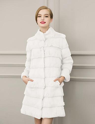 Høj krave Langærmet Tyk Dame Hvid Sort Ensfarvet Vinter Simpel Gade Afslappet/Hverdag Formelle Pelsfrakke,Imiteret pels
