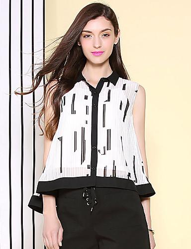 Uden ærmer Krave Solid Damer Geometrisk Sommer Simpel Afslappet/Hverdag Bluse,Polyester