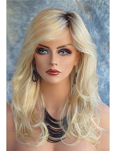 ราคาถูก Beauty & Hair-วิกผมสังเคราะห์ คลื่นหลัก สไตล์ กับ Bangs มีลูกไม้ด้านหน้า ผมปลอม บลอนด์ บลอนด์ สังเคราะห์ สำหรับผู้หญิง รากมืด / ส่วนด้านข้าง บลอนด์ วิก ยาว วิกธรรมชาติ