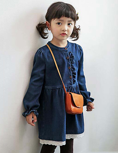 Baby Mädchen Patchwork Langarm Kleid
