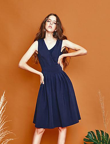 liangsanshi kvinders gå ud simpel kappe kjole, solid v hals knælange ærmeløs sommer blå polyester