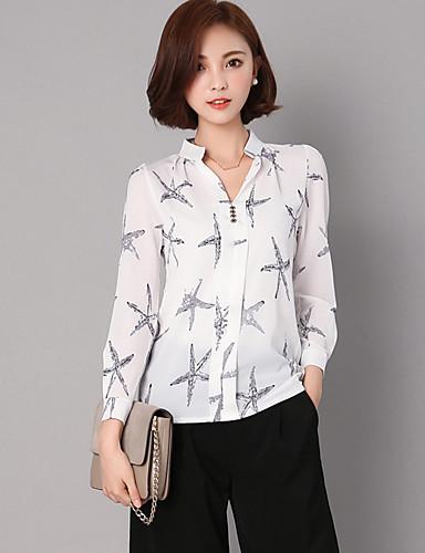 Mulheres Camisa Social Estampado Raiom Poliéster Colarinho Chinês