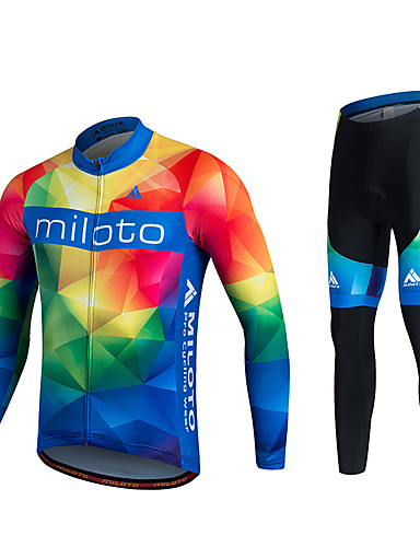 8621ee6463fb Miloto Men s Women s Long Sleeve Cycling Jersey with Tights Plus Size Bike  Pants   Trousers Jersey Tights Breathable 3D Pad Quick Dry Sweat-wicking  Sports ...