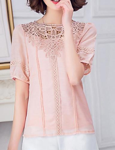 여성의 솔리드 라운드 넥 짧은 소매 블라우스,심플 / 스트리트 쉬크 캐쥬얼/데일리 핑크 / 화이트 / 퍼플 레이온 / 폴리에스테르 여름 얇음