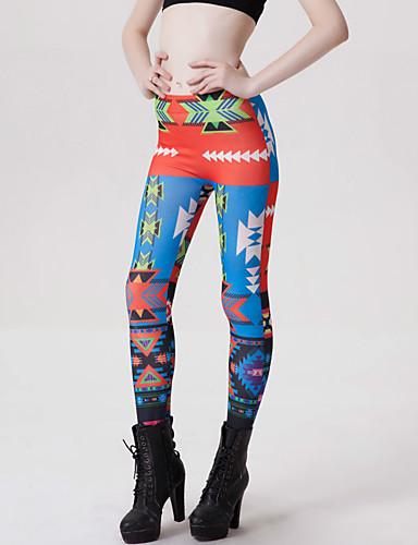Damen Mittel Polyester Geometrisch Bedruckt Legging, Blau