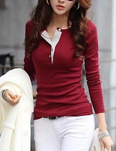 Damen Solide T-shirt Baumwolle