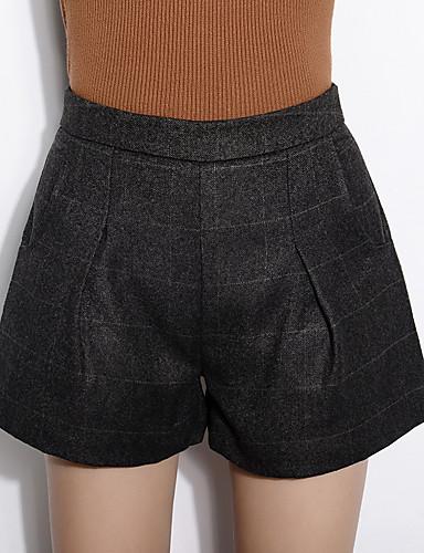 Mulheres Calças Simples Shorts Lã / Algodão Sem Elasticidade Mulheres
